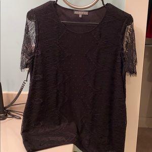 Brixon Ivy Tops - Kilty Lace Overlay Knit Top